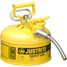 """1 Gallon, Type II Steel Safety Can, 5/8"""" Dia. Hose, Yellow"""