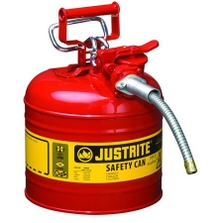 """2 Gallon, Type II Steel Safety Can, 5/8"""" Dia. Hose, Red"""