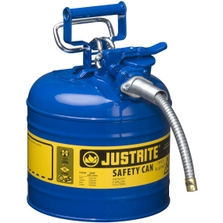"""2 Gallon, Type II Steel Safety Can, 5/8"""" Dia. Hose, Blue"""