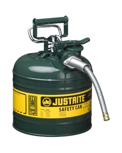 """2 Gallon, Type II Steel Safety Can, 5/8"""" Dia. Hose, Green"""