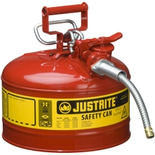 """2.5 Gallon, Type II Steel Safety Can, 5/8"""" Dia. Hose, Red"""