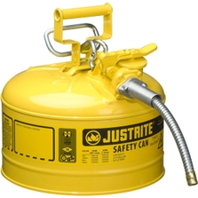 """2.5 Gallon, Type II Steel Safety Can, 5/8"""" Dia. Hose, Yellow"""