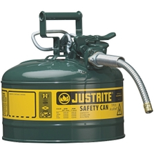 """2.5 Gallon, Type II Steel Safety Can, 5/8"""" Dia. Hose, Green"""