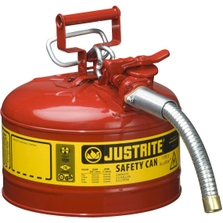 """2.5 Gallon, Type II Steel Safety Can, 1"""" Dia. Hose, Red"""
