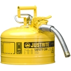 """2.5 Gallon, Type II Steel Safety Can, 1"""" Dia. Hose, Yellow"""