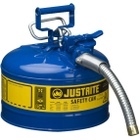"""2.5 Gallon, Type II Steel Safety Can, 1"""" Dia. Hose, Blue"""