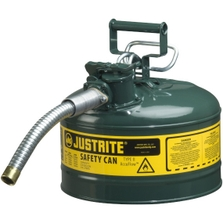 """2.5 Gallon, Type II Steel Safety Can, 1"""" Dia. Hose, Green"""