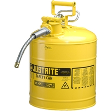 """5 Gallon, Type II Steel Safety Can, 5/8"""" Dia. Hose, Yellow"""