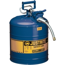 """5 Gallon, Type II Steel Safety Can, 5/8"""" Dia. Hose, Blue"""