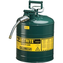 """5 Gallon, Type II Steel Safety Can, 5/8"""" Dia. Hose, Green"""