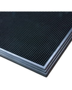 "39"" x 32"" Sani-Trax® Plus Black Rubber Sanitizing Mat closeup"