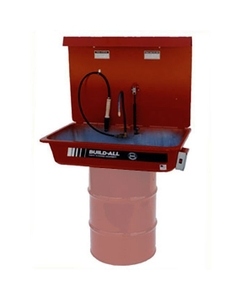 Drum Mounted Solvent Parts Washer, Recirculating, Flow-Thru Brush Assembly, w/Light