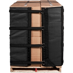4' Black Reusable Pallet Wrap Cover w/Corner Pallet Straps
