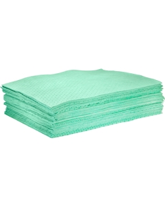 """30"""" x 38"""" Heavy-Weight Antifreeze Absorbent Pads, Sonic Bonded, Green (50 pads/bag)"""