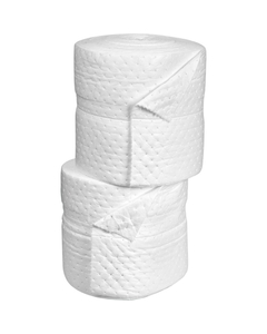 """15"""" x 150' Heavy-Weight Oil-Only Absorbent Split Rolls, Laminated, White (2 rolls/bag)"""