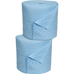 "15"" x 150' Medium-Weight Oil-Only Absorbent Split Rolls, Laminated, Blue (2 rolls/bag)"