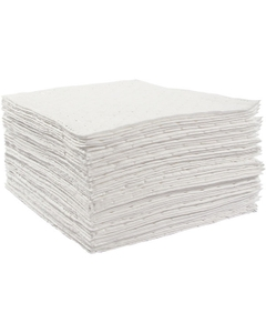 """30"""" x 38"""" Heavy-Weight Oil Absorbent Pads, Sonic Bonded, White (50 pads/bag)"""