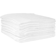 """15"""" x 18"""" Medium-Weight Oil Absorbent Pads, Meltblown, White (100 pads/bag)"""