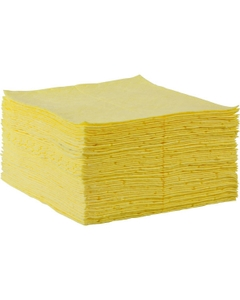 "15"" x 18"" Medium-Weight Hazmat Absorbent Pads, Fine Fiber, Yellow (100 pads/bag)"