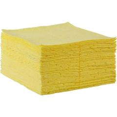 """15"""" x 18"""" Heavy-Weight Hazmat Absorbent Pads, Fine Fiber, Yellow (100 pads/bag)"""