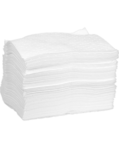 """15"""" x 18"""" Medium-Weight Oil Absorbent Pads, Excel, White (100 pads/bag)"""