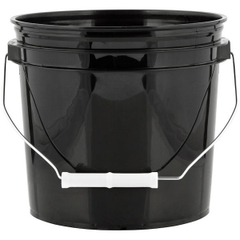 1 Gallon Black Plastic Pail w/Metal Handle