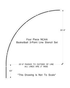 "NCAA Basketball Court 3-Point Line Stencil, 20' 9"" High, 1/8"" Thick"