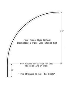 "High School Basketball Court 3-Point Line Stencil, 19' 9"" High, 1/8"" Thick"