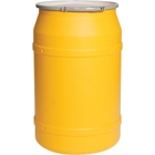 55 Gallon Yellow Plastic Drum, Taper Sided, UN Rated, Cover w/Lever Lock Ring Closure
