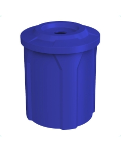 """42 Gallon Blue Recycling Receptacle, Flat Top 4"""" Opening"""