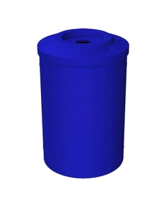 """55 Gallon Blue Recycling Receptacle, Flat Top 4"""" Opening"""