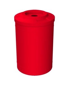 """55 Gallon Red Recycling Receptacle, Flat Top 4"""" Opening"""