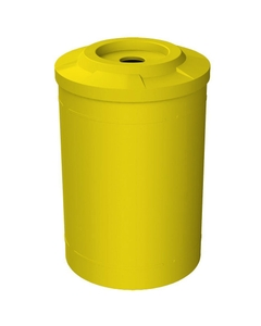 """55 Gallon Yellow Recycling Receptacle, Flat Top 4"""" Opening"""