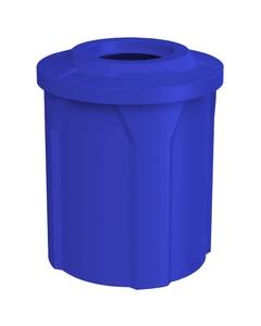 "42 Gallon Blue Trash Receptacle, Flat Top 11.5"" Opening"