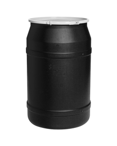 """55 Gallon Black Plastic Drum, Straight Sided, UN Rated, Bung Lid w/Metal Lever Lock, 2 2"""" Fittings"""