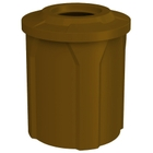 "42 Gallon Brown Trash Receptacle, Flat Top 11.5"" Opening"