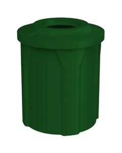 "42 Gallon Green Trash Receptacle, Flat Top 11.5"" Opening"