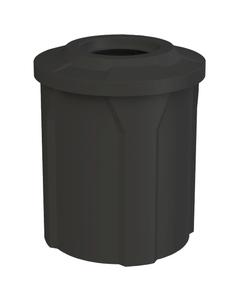 "42 Gallon Black Trash Receptacle, Flat Top 11.5"" Opening"