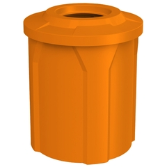 """42 Gallon Orange Trash Receptacle, Flat Top 11.5"""" Opening"""