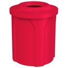 """42 Gallon Red Trash Receptacle, Flat Top 11.5"""" Opening"""