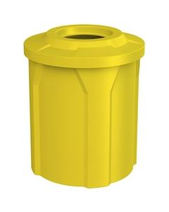 "42 Gallon Yellow Trash Receptacle, Flat Top 11.5"" Opening"