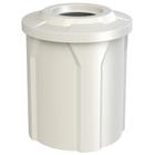 "42 Gallon White Trash Receptacle, Flat Top 11.5"" Opening"