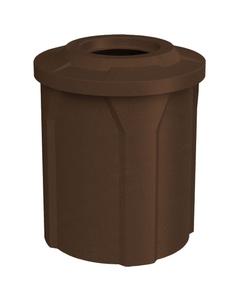 """42 Gallon Brown Granite Trash Receptacle, Flat Top 11.5"""" Opening"""