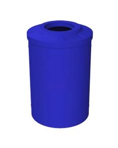 "55 Gallon Blue Trash Receptacle, Flat Top 11.5"" Opening"