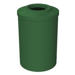 "55 Gallon Green Trash Receptacle, Flat Top 11.5"" Opening"