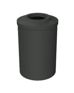 "55 Gallon Black Trash Receptacle, Flat Top 11.5"" Opening"