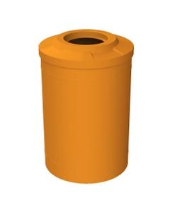 """55 Gallon Orange Trash Receptacle, Flat Top 11.5"""" Opening"""