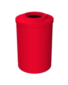 """55 Gallon Red Trash Receptacle, Flat Top 11.5"""" Opening"""