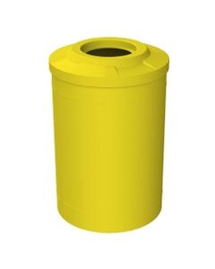 "55 Gallon Yellow Trash Receptacle, Flat Top 11.5"" Opening"