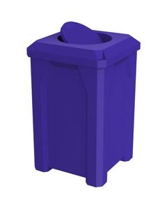 32 Gallon Blue Square Trash Receptacle, Bug Barrier Lid
